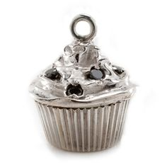 Sterling Silver Cupcake Charm with Black Diamonds