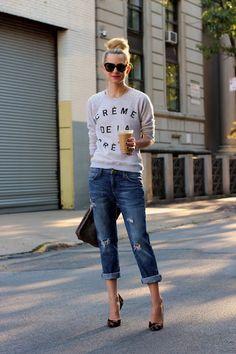 boyfriend jeans + sweatshirt + leopard pumps