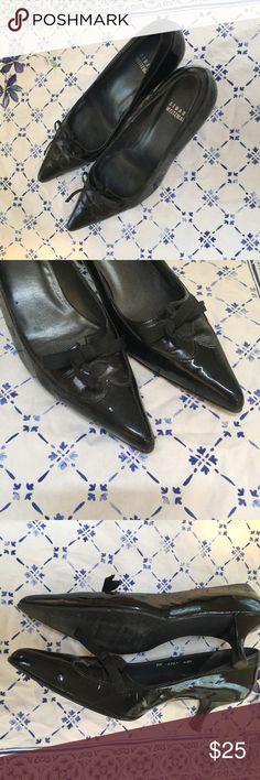Stuart Weitzman Black Ribbon Low Heel Shoes Really cute black low heel shoes with ribbon detail. Great condition with little signs of wear. Medium width. Stuart Weitzman Shoes Heels
