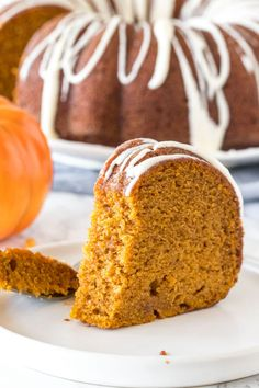 Hands down - the best pumpkin cake! This moist pumpkin bundt cake has a delicious pumpkin flavor, filled with warm spices, & topped with cream cheese glaze. Pumpkin Bundt Cake, Pumpkin Dessert, Pumpkin Bread, Cream Cheese Glaze, Cream Cheese Recipes, Canned Pumpkin Pie Filling, Canned Pumpkin Recipes, Dessert Parfait, Bunt Cakes