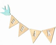 Name banner, personalized garland, wooden bunting, nursery decor, baby shower gift