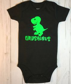 ddd690e87 dinosaur baby shower gift tinysaurus babysaurus Gender Neutral Baby Clothes Black  and Green Body Suit Baby Boy gift Baby Girl Gift