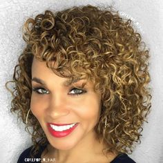 Medium Curly Golden Brown Hairstyle