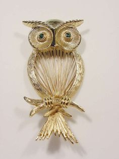Vintage Hobe Owl Spinerette Pin Delicate Wired Body Green Rhinestone Eyes Exclnt #Hobe