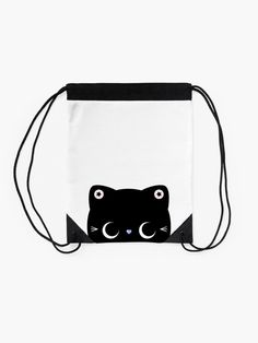Star Kitty Cat Drawstring Bag | Elke + Blue collection by MeetMinnie #cat #cats #halloween #cute #kawaii #trickortreat #bag