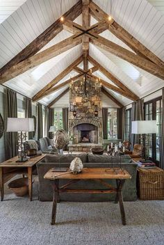 Whimsical lakeside cottage retreat with cozy interiors on Lake Keowee THIS CEILING. Not the decor so much. Whimsical lakeside cottage retreat with cozy interiors on Lake Keowee - Add Modern To Your Life Home Living Room, Living Room Designs, Living Room Interior, Country House Interior, Rustic Home Exteriors, Lake House Family Room, Wood Interior Walls, Modern Cabin Interior, Cottage Style Living Room