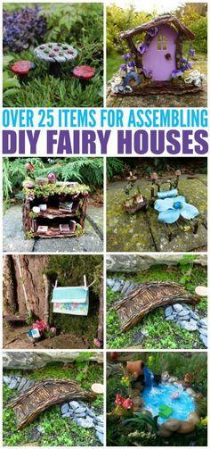 Items for assembling diy fairy houses diy fairy door, diy fairy hou Fairy Garden Furniture, Fairy Garden Houses, Gnome Garden, Fairy Houses Kids, Diy Fairy Garden, Fairies Garden, Garden Pests, Diy Fairy Door, Fairy Doors