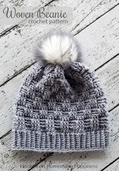 The Woven Beanie Crochet Pattern uses the basket weave stitch to create this pretty woven look. I love all the different textures of this beanie with the ribbed brim, the basket weave, and the fun pom pom.