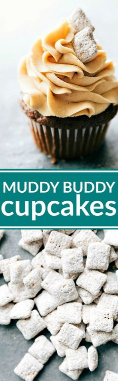 Muddy buddy cupcakes complete with a rich chocolate cupcake, peanut butter frosting, and muddy buddy garnish. The best chocolate peanut butter cupcakes! via http://chelseasmessyapron.com