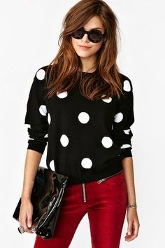 Polka Dots Shirt With Red Pent