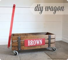 DIY Projects | DIY Gifts | This Restoration Hardware inspired industrial wood wagon is perfect for storing toys, and little ones will have a blast toting their toys around!