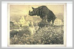 Statue colossale de Rhinocéros de Paul Renouard (1845-1924), dessin au crayon noir, 53,6 x 72,2 cm, Musée du Louvre, Département des Arts Graphiques à Paris.
