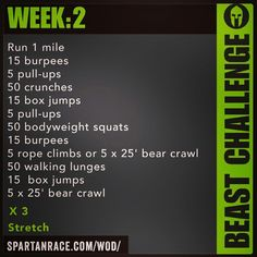 Spartan Training: Beast Challenge (Week – Running Spartan Race Training, Spartan Workout, Wod Workout, Training Plan, Training Workouts, Workout Ideas, Spartan Sprint, Workout Plans, Gym Workouts