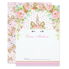 Unicorn Birthday Time Capsule Note Card Guestbook
