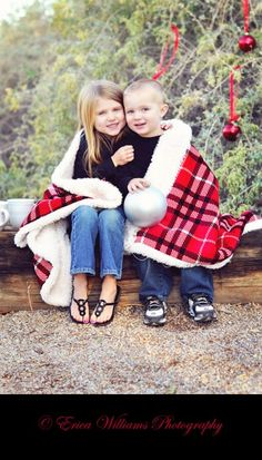 Cute Christmas card idea I already have this blanket...perfect!