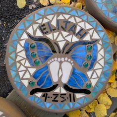 mosaic stepping stones patterns | Custom Made Butterfly Mosaic Memorial Stepping Stone