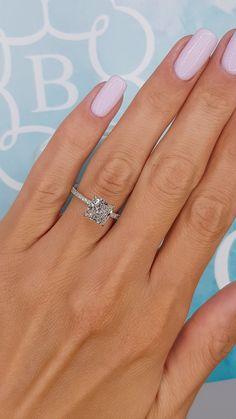 Engagement Rings On Finger, Radiant Engagement Rings, Engagement Rings Cushion, Beautiful Engagement Rings, Halo Diamond Engagement Ring, Diamond Wedding Rings, Wedding Ring Finger, Beautiful Rings, Princess Wedding Rings