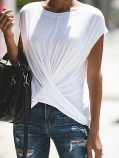 Casual Short Sleeve Shirts & Blouses is fashionable and cheap, come to JustFashionNow to find out about the Clothing Shirt Blouses, Tee Shirts, Chiffon Blouses, Georgia, White Casual, Women's Casual, Casual T Shirts, Types Of Sleeves, Shirt Sleeves