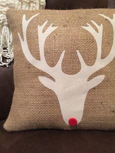 Holiday reindeer pillow burlap pillow by thelittlegreenbean