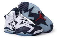 timeless design 0182f 5078d Mens Jordan Retro VI Nike Sport Shoes Dark Blue White