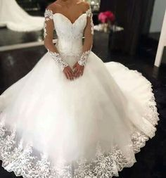 Cheap gowns graduation, Buy Quality dresses and evening gowns directly from China dresses orange Suppliers: Bling Bridal Gowns Elegant Sweetheart Off The Shoulder Wedding Dresses 2016 Long Sleeves Appliques Bridal Gown Vestidos De Novia How To Dress For A Wedding, Wedding Dress Train, Wedding Dress Sleeves, Tulle Wedding, White Wedding Dresses, Bridal Dresses, Wedding Gowns, Ivory Wedding, Wedding Venues