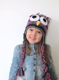 Multi Colored Owl Hat one size - 2T-5T