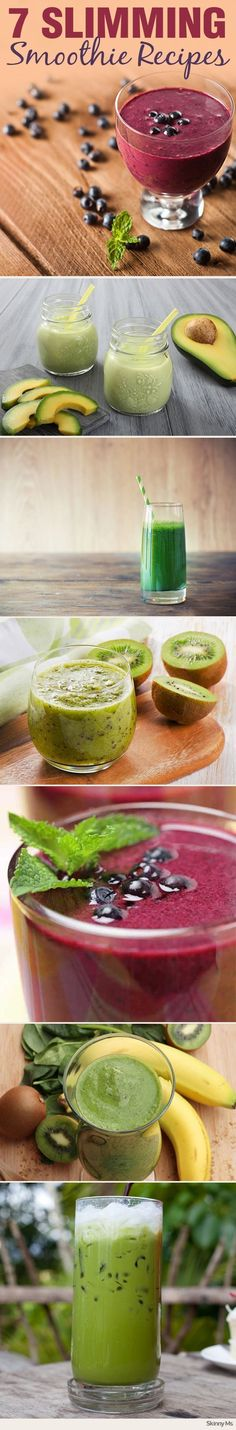 Mix up these 7 slimming smoothie recipes for breakfast, lunch, or snack time. #smoothierecipes #weightloss