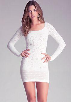 Bebe black lace long sleeve dress