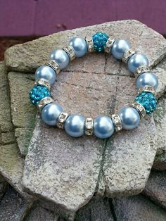 Swarovski Crystal Pearl Stretch Bracelet with Rondelles and Pave Beads | HCLTreasures - Jewelry on ArtFire