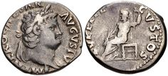 Roman Empire.  Nero. AD 54-68. AR Denarius (18mm, 3.09 g, 6h). Rome mint. Struck circa AD 66-67. Laureate head right / Jupiter seated left, holding scepter and thunderbolt. RIC I 64; RSC 121. Near VF.