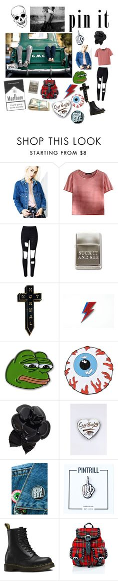"""""""Teenage runaway"""" by ahsfan22 ❤ liked on Polyvore featuring Signature 8, WithChic, NoHours, PèPè, Chanel, Sourpuss, PINTRILL, Dr. Martens and Current Mood"""