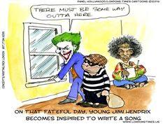 All Along The #Watchtower by @LTCartoons    #dylan #bobdylan #hendrix #jimihendrix #allalongthewatchtower #batman #thejoker #crime #music #classicRock #vietnam #humor #funny #comic #cartoon #offbeat #bizarre #weird #satire #parody #LTCartoons #ricklondon #shopping #onlineshopping