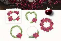 Poinsettia Holly Steams, Christmas Watercolor Wreath Clip Art, Scarlet Red Flower Clipart, Digital Floral Holiday christmas bundle by KoelschArtLab on Etsy Watercolor Clipart, Wreath Watercolor, Watercolor Christmas, Botanical Illustration, Watercolor Illustration, Graphic Illustration, Illustrations, Christmas Clipart, Christmas Ad