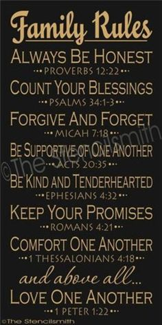 Family Rules with scripture references
