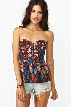 Aztec Peplum Bustier from Nasty Gal Bustiers, Cute Simple Outfits, Cute Outfits, Bustier Dress, Peplum, Pam Pam, Bodysuit, Weekend Wear, Fashion Outfits