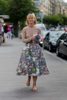 Vika Gazinskaya wearing a skirt with floral print outside Giorgio Armani Prive during Paris Fashion Week Haute Couture F/W 2016/2017 on July 5 2016...