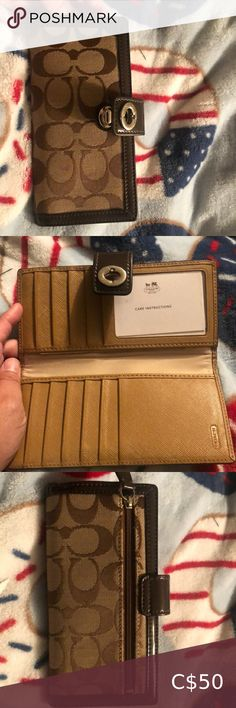 Coach wallet i have never used it, the mark in the front is from a purse it was put awat with. Can be clean and removed Coach Bags Wallets Coach Wallet, Coach Bags, Wallets, Shop My, Purses, Best Deals, Brown, Closet, Things To Sell