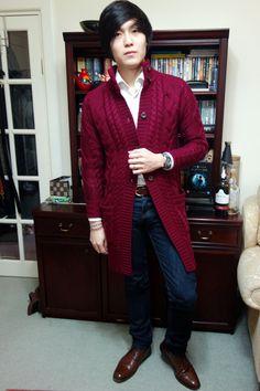 @isohei, Woolovers Aran Coat Cardigan, Unbranded 201 Denim, Equus Leather Belt, Loake Chukkas