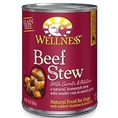 Wellness Thick and Chunky Grain Free Beef Stew Natural Wet Canned Dog Food, 12.5-Ounce Can (Pack of 12) by Wellness Natural Pet Food * You can get more details here : Dog food brands