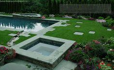 Creative & Unique Swimming Pool Design & Construction in NJ & NY areas Swimming Pool Designs, Swimming Pools, Stone Bench, Gardens, Construction, Creative, Outdoor Decor, Unique, Home Decor