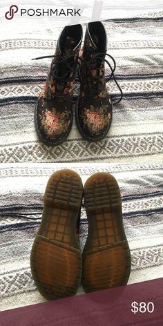 Floral Doc Martens Black floral print Doc Martens 1460.... good condition Dr. Martens Shoes Lace Up Boots
