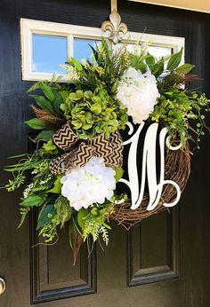 Summer Wreaths for Front Door Burlap Wreaths Monogram