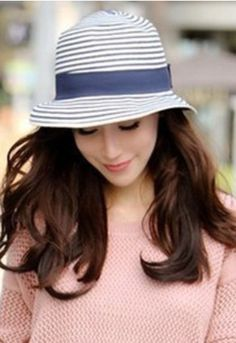 f773742ebf5 new 2014 fashion female sunbonnet beach cap stripe strawhat sun bucket hat  sun hat s for women straw caps
