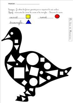 canard reconnaissance formes géométriques Early Learning, Toddler Activities, Kids And Parenting, Language, Symbols, Letters, Teaching, Education, Conte