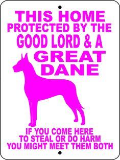 GREAT DANE ALUMINUM DOG SIGN GLGDFMPK #greatdanepuppy