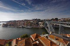Porto, Portugal - May 8, 2017: Dom Luis I Bridge across river Douro. This double-deck metal arch bridge was built in 1881-1886