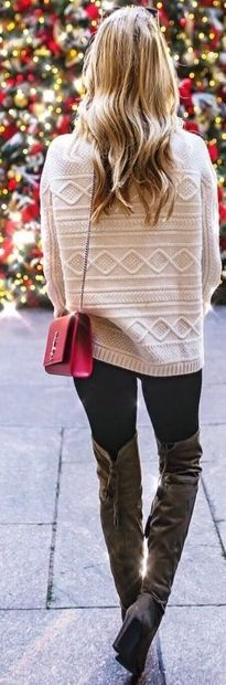 creamy sweater, black pants, brown long boots, red bag