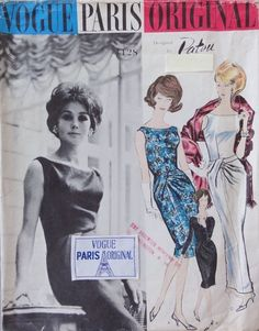 Vintage Vogue Paris Original, Patou, Complete, Label, Deep V Back, Sz 14-Bust 34 #VoguePatterns