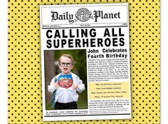 Superman Batman Superhero Justice League Birthday Party Invitation by ParchmentSkies on Etsy, $15.00