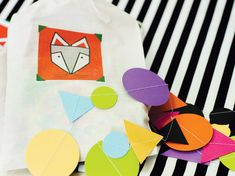 A COLORFUL Geometric Fox Party with a triangle pattern cake, felt fox masks + muslin favor bags, a black & white stripes & more nordic style